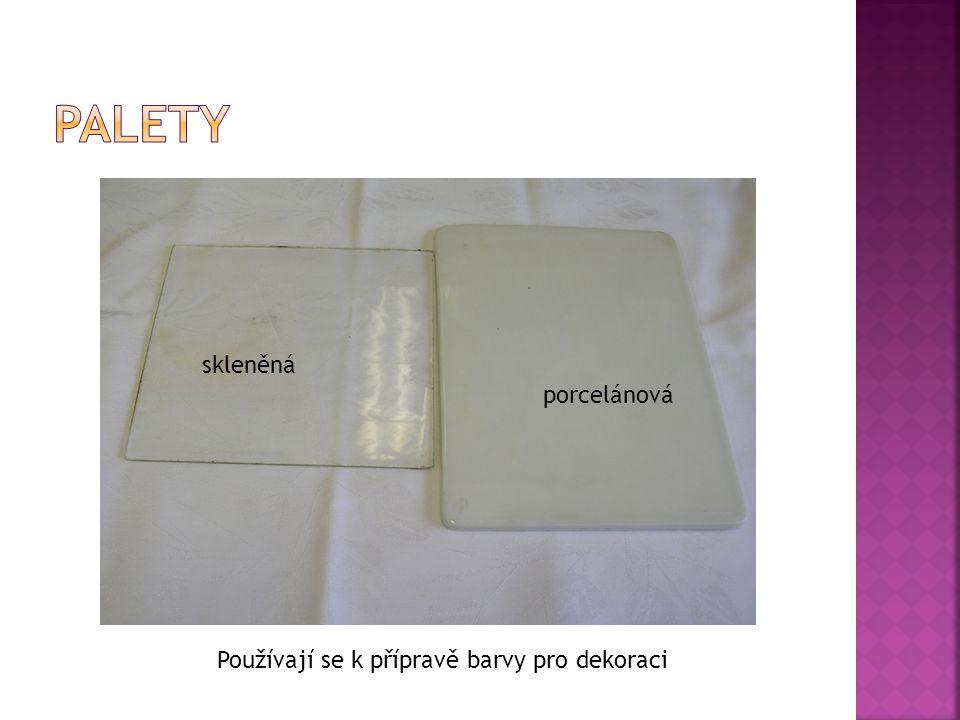 Palety skleněná porcelánová Používají se k přípravě barvy pro dekoraci