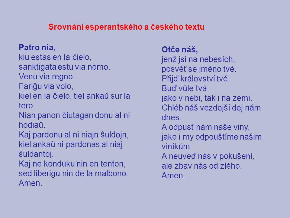 Srovnání esperantského a českého textu