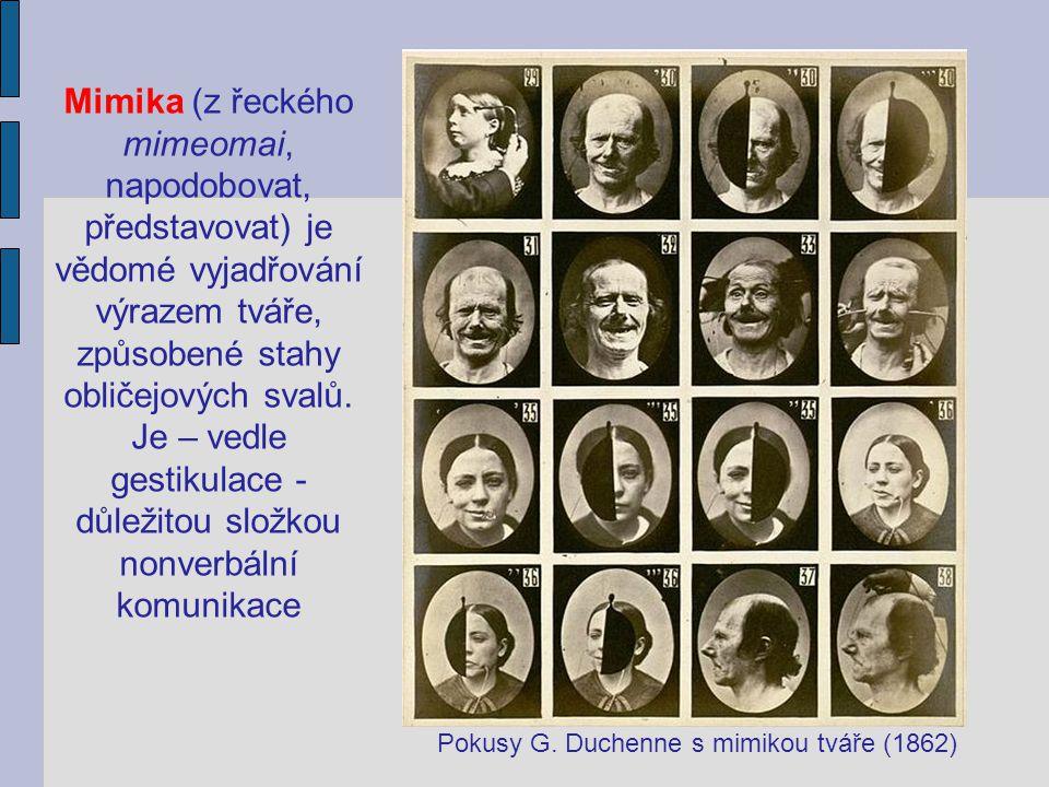 Mimika (z řeckého mimeomai, napodobovat, představovat) je vědomé vyjadřování výrazem tváře, způsobené stahy obličejových svalů. Je – vedle gestikulace - důležitou složkou nonverbální komunikace