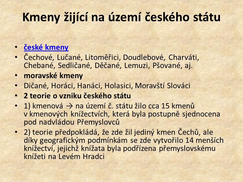 Kmeny žijící na území českého státu