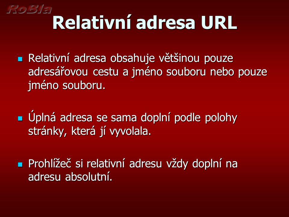 Relativní adresa URL Relativní adresa obsahuje většinou pouze adresářovou cestu a jméno souboru nebo pouze jméno souboru.
