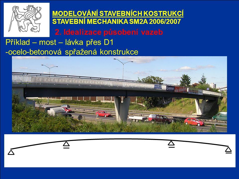 2. Idealizace působení vazeb Příklad – most – lávka přes D1