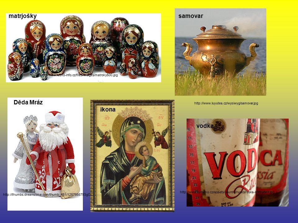 matrjošky samovar Děda Mráz ikona vodka