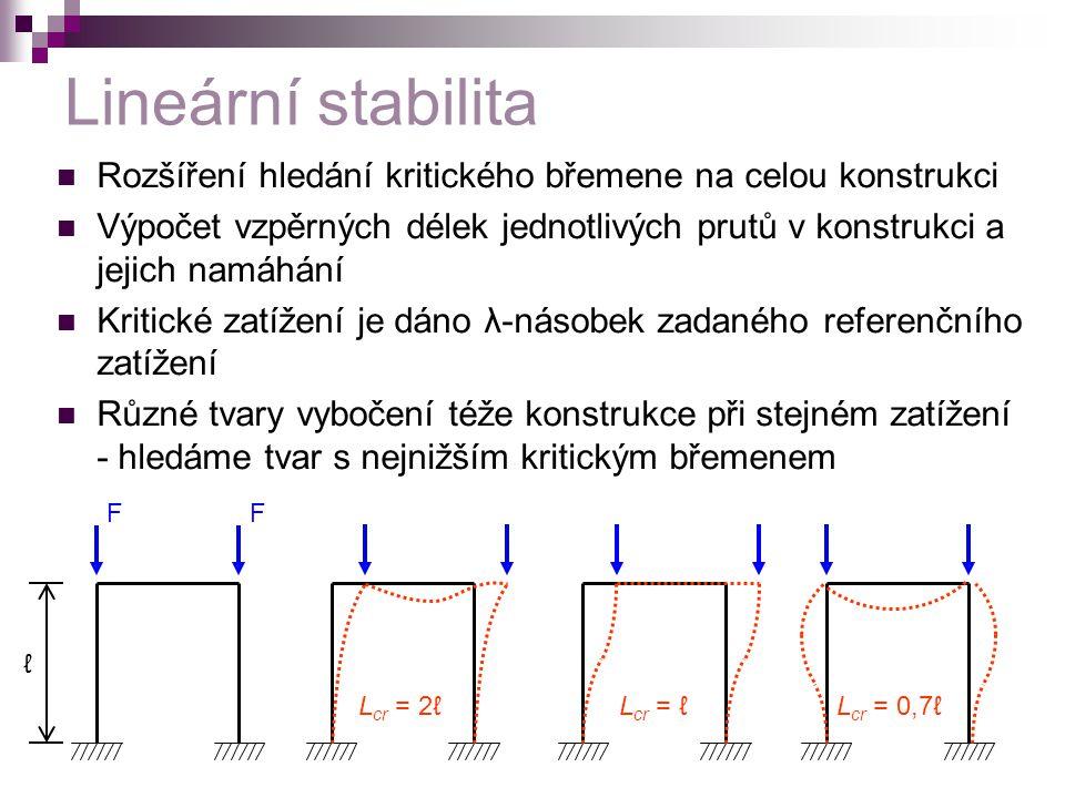 Lineární stabilita Rozšíření hledání kritického břemene na celou konstrukci.