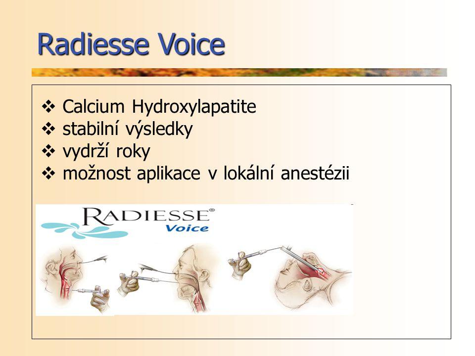 Radiesse Voice Calcium Hydroxylapatite stabilní výsledky vydrží roky
