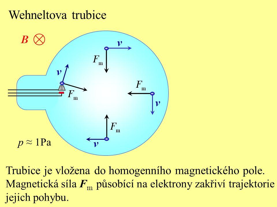 Wehneltova trubice - - - p ≈ 1Pa. - Trubice je vložena do homogenního magnetického pole.