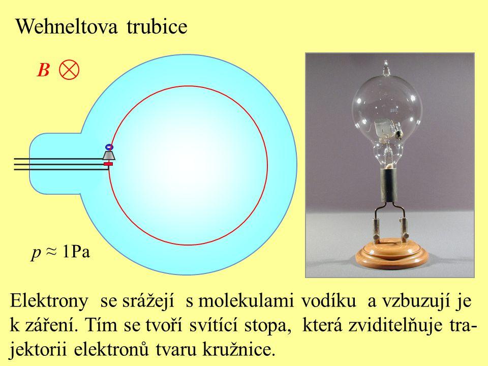 Wehneltova trubice - p ≈ 1Pa. Elektrony se srážejí s molekulami vodíku a vzbuzují je.