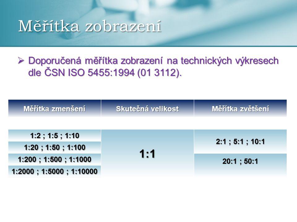 Měřítka zobrazení Doporučená měřítka zobrazení na technických výkresech dle ČSN ISO 5455:1994 (01 3112).