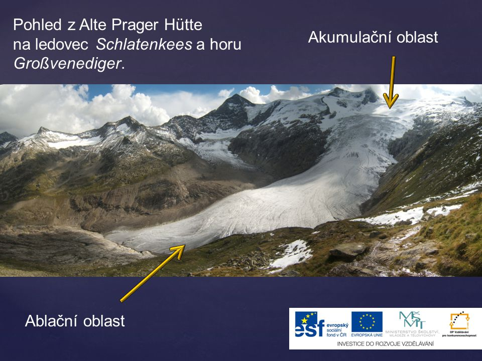 Pohled z Alte Prager Hütte na ledovec Schlatenkees a horu Großvenediger.