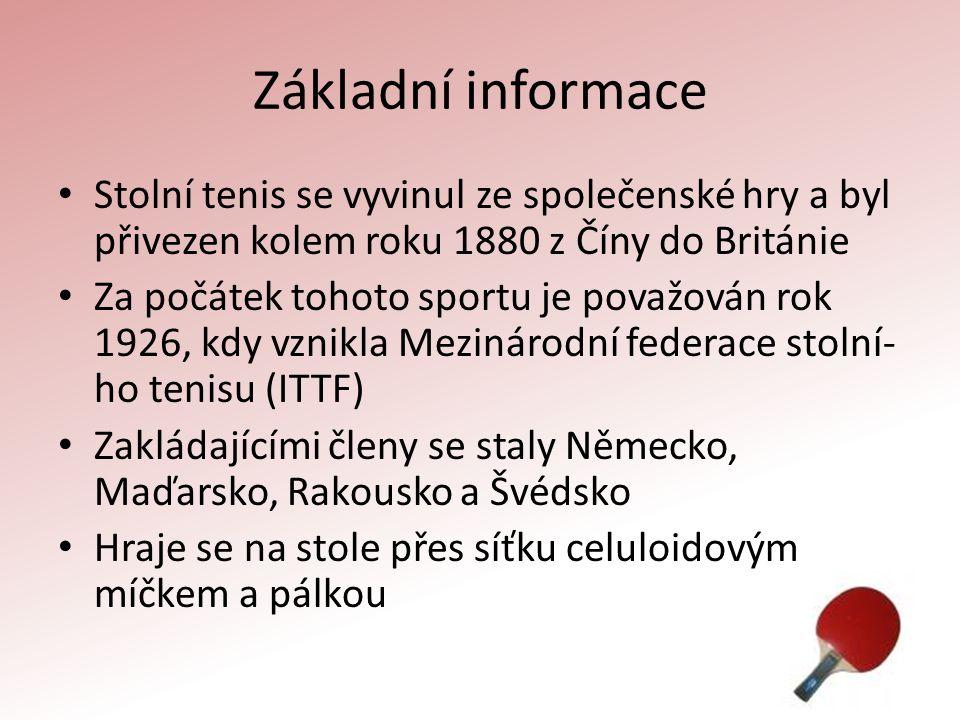 Základní informace Stolní tenis se vyvinul ze společenské hry a byl přivezen kolem roku 1880 z Číny do Británie.