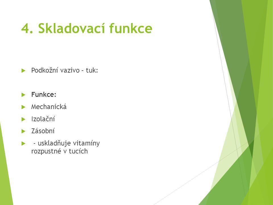 4. Skladovací funkce Podkožní vazivo – tuk: Funkce: Mechanická