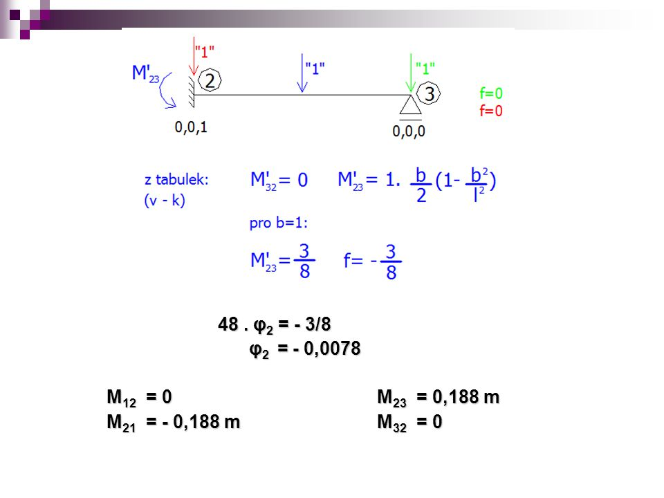 48 . φ2 = - 3/8 φ2 = - 0,0078 M12 = 0 M23 = 0,188 m M21 = - 0,188 m M32 = 0