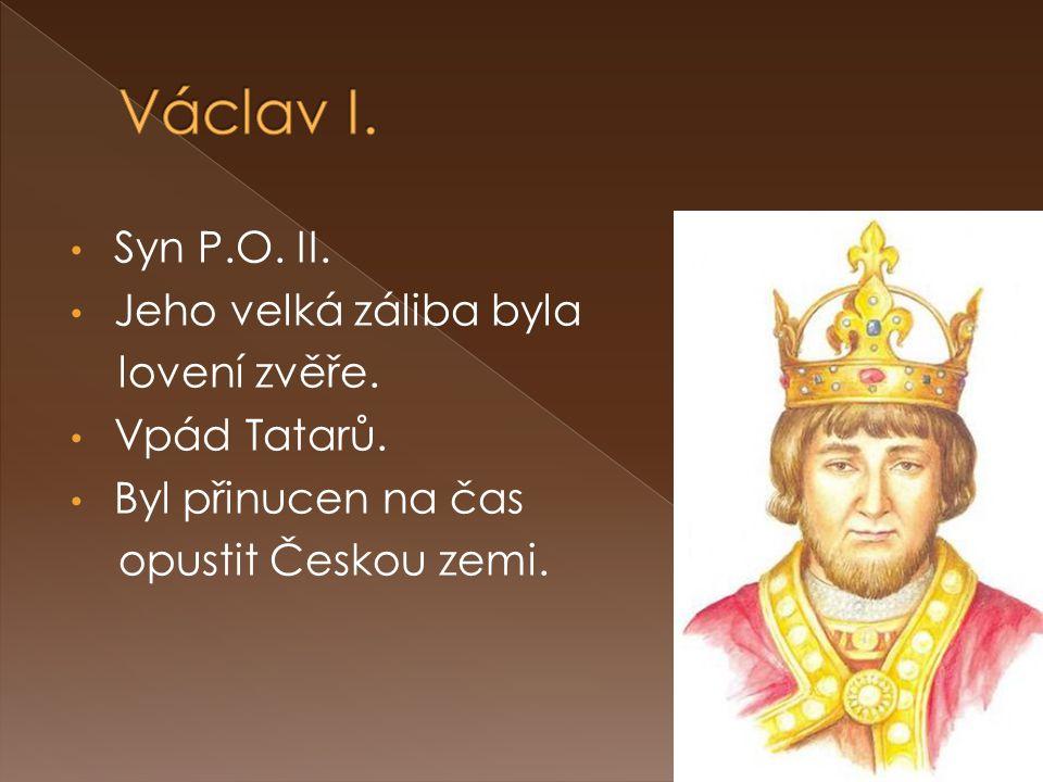 Václav I. Syn P.O. II. Jeho velká záliba byla lovení zvěře.