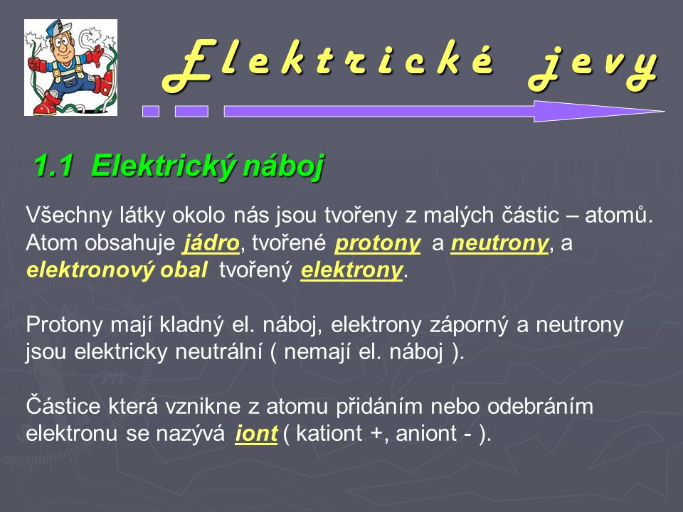 E l e k t r i c k é j e v y 1.1 Elektrický náboj