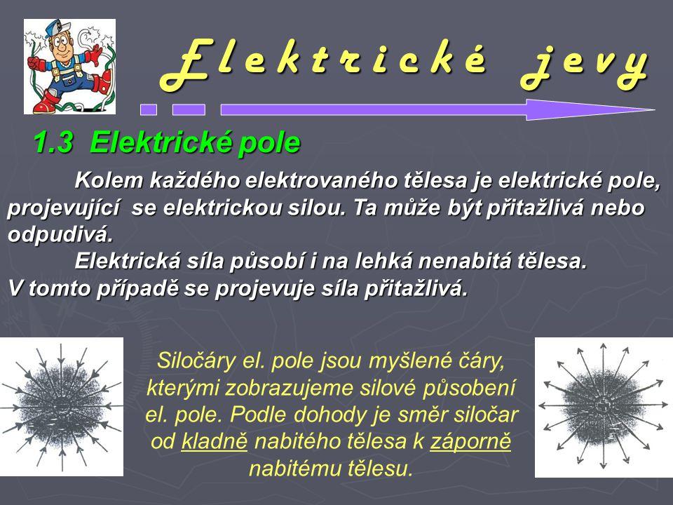 E l e k t r i c k é j e v y 1.3 Elektrické pole