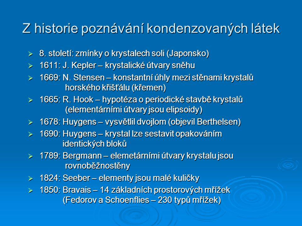 Z historie poznávání kondenzovaných látek
