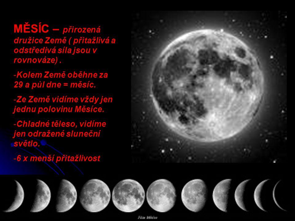 MĚSÍC – přirozená družice Země ( přitažlivá a odstředivá síla jsou v rovnováze) .