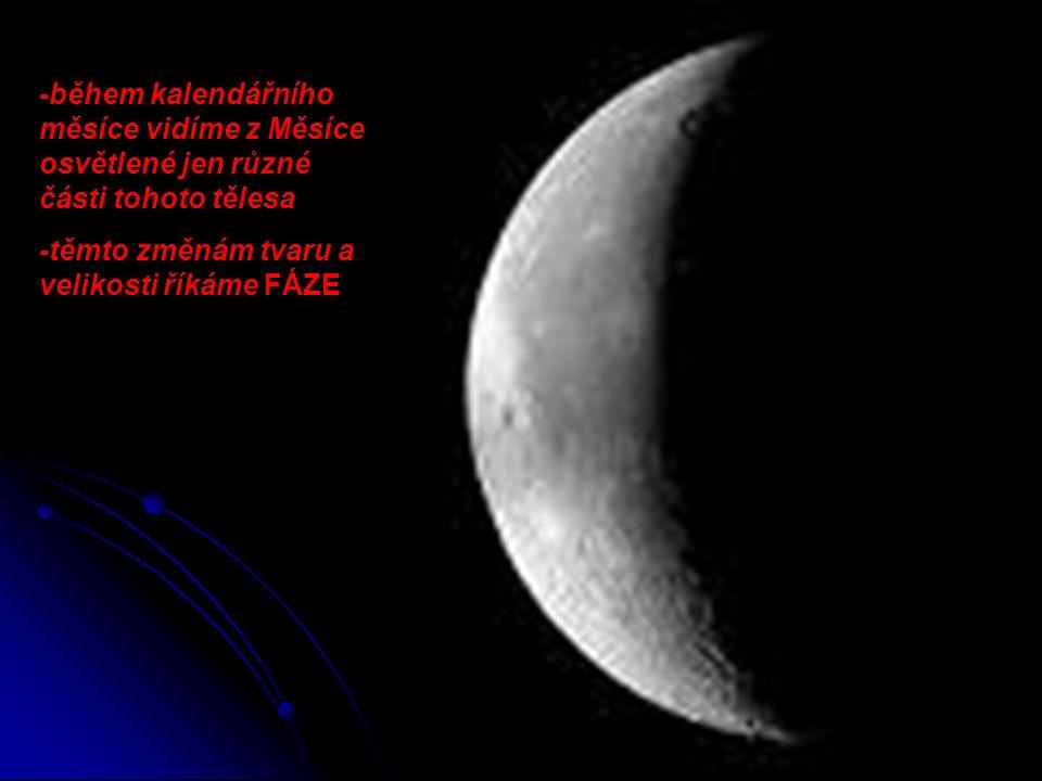 -během kalendářního měsíce vidíme z Měsíce osvětlené jen různé části tohoto tělesa