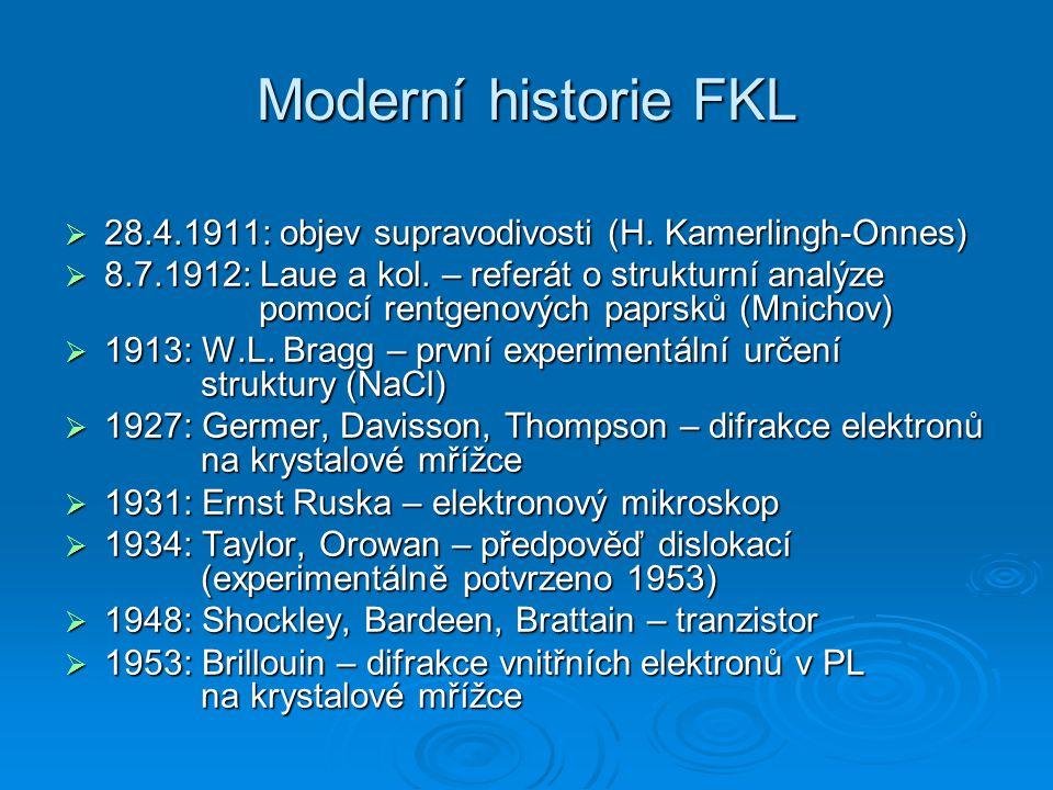 Moderní historie FKL 28.4.1911: objev supravodivosti (H. Kamerlingh-Onnes)