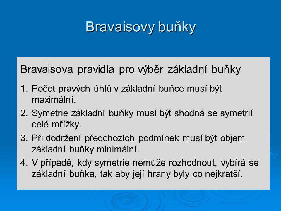 Bravaisovy buňky Bravaisova pravidla pro výběr základní buňky