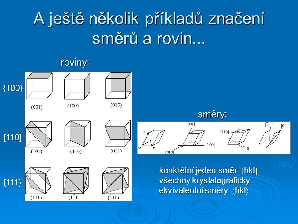 A ještě několik příkladů značení směrů a rovin...