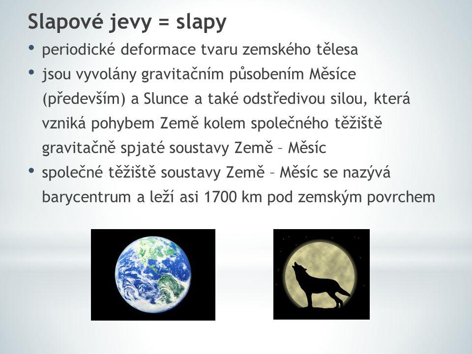 Slapové jevy = slapy periodické deformace tvaru zemského tělesa
