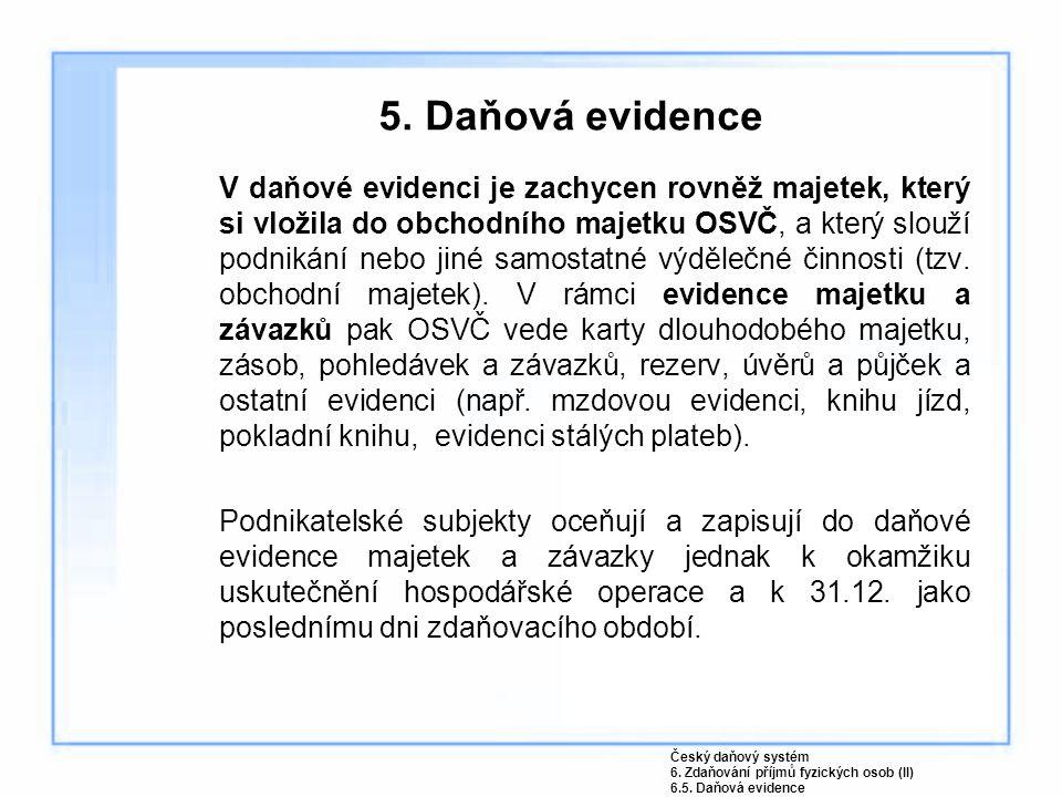 5. Daňová evidence