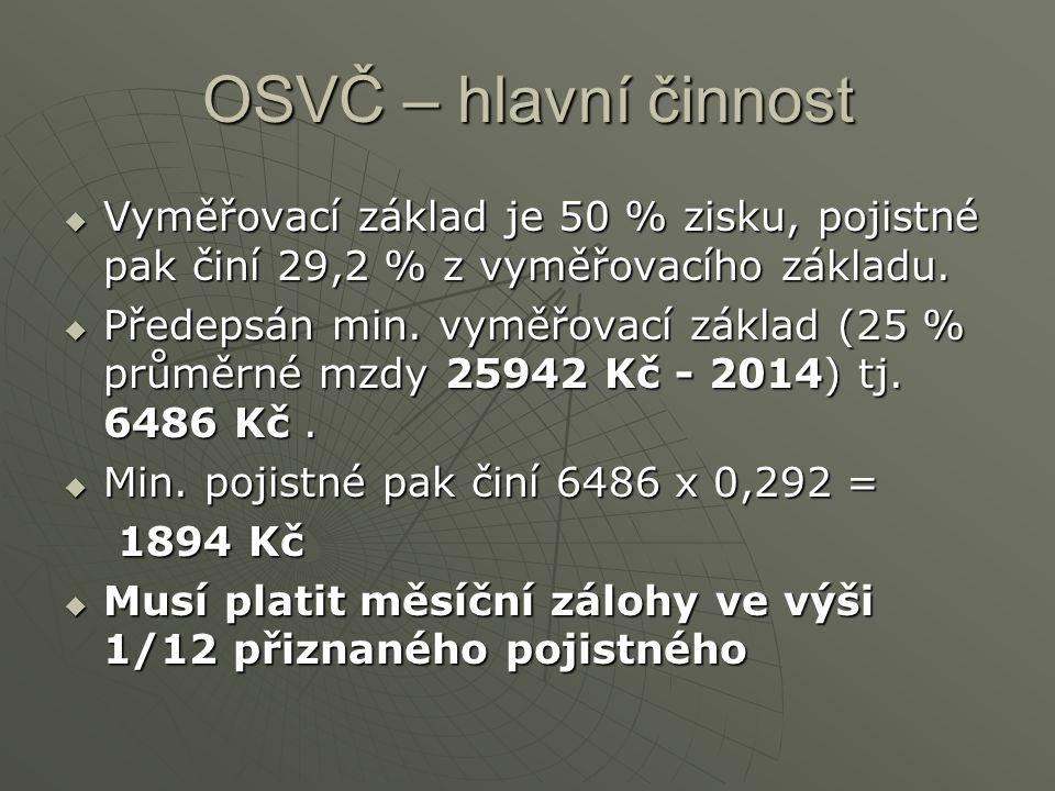 OSVČ – hlavní činnost Vyměřovací základ je 50 % zisku, pojistné pak činí 29,2 % z vyměřovacího základu.
