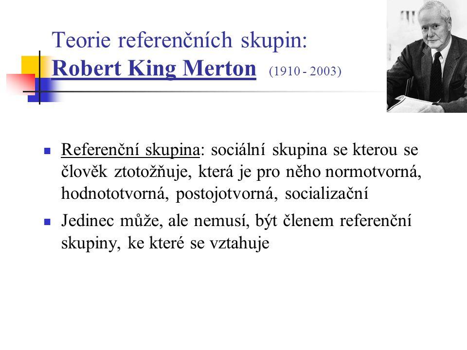 Teorie referenčních skupin: Robert King Merton (1910 - 2003)