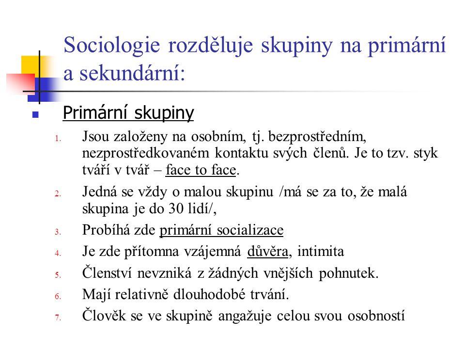 Sociologie rozděluje skupiny na primární a sekundární: