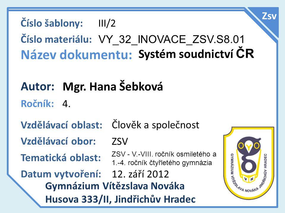 Název dokumentu: Systém soudnictví ČR Autor: Mgr. Hana Šebková Zsv