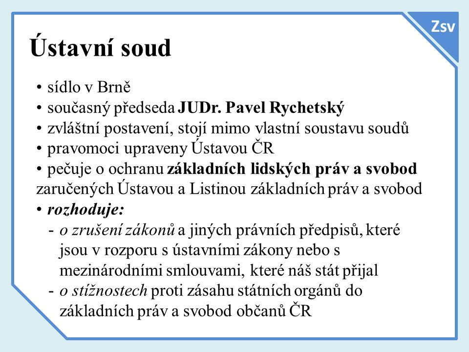 Ústavní soud Zsv sídlo v Brně současný předseda JUDr. Pavel Rychetský