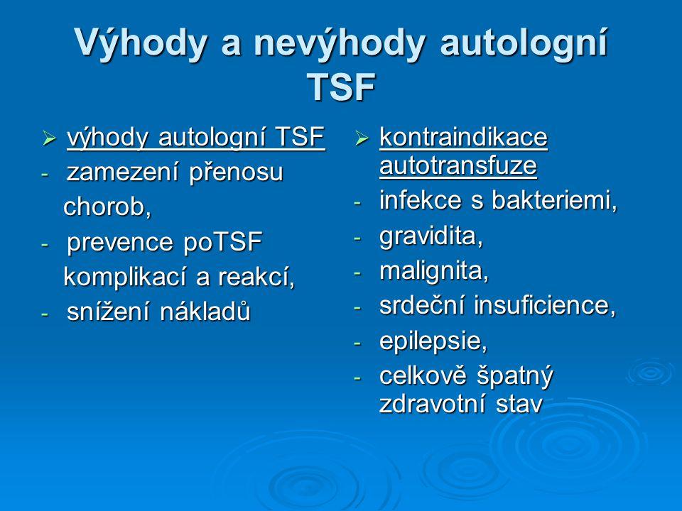 Výhody a nevýhody autologní TSF