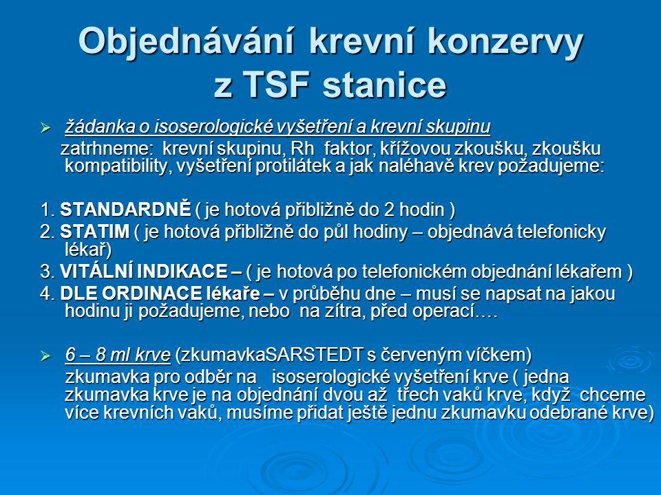 Objednávání krevní konzervy z TSF stanice