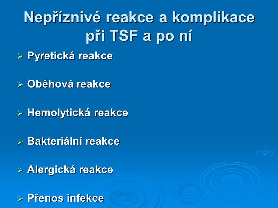 Nepříznivé reakce a komplikace při TSF a po ní