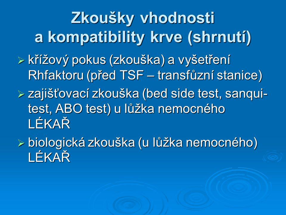 Zkoušky vhodnosti a kompatibility krve (shrnutí)