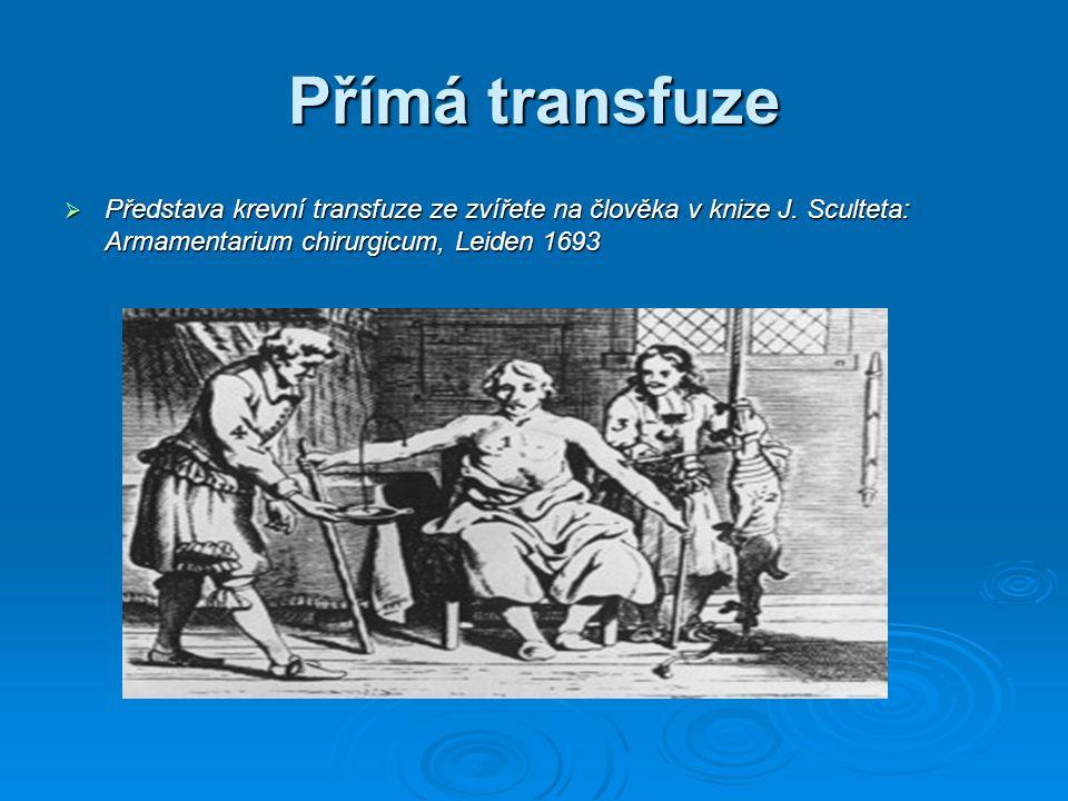 Přímá transfuze Představa krevní transfuze ze zvířete na člověka v knize J.