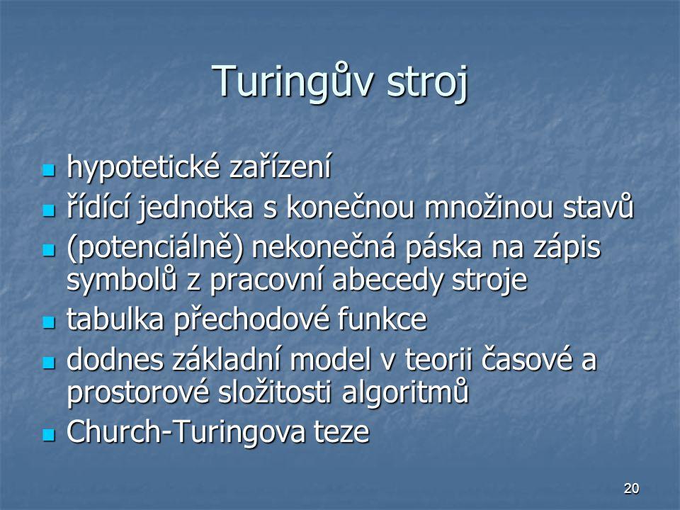 Turingův stroj hypotetické zařízení
