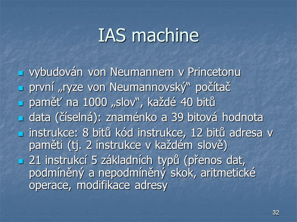 IAS machine vybudován von Neumannem v Princetonu