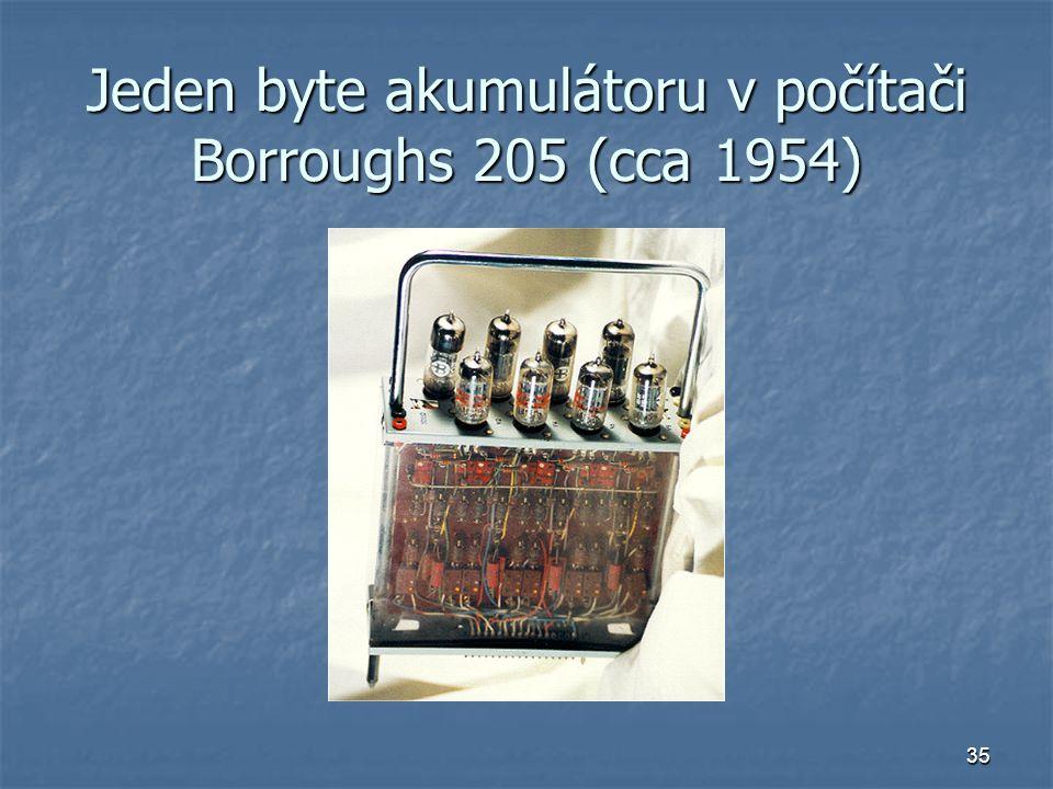 Jeden byte akumulátoru v počítači Borroughs 205 (cca 1954)