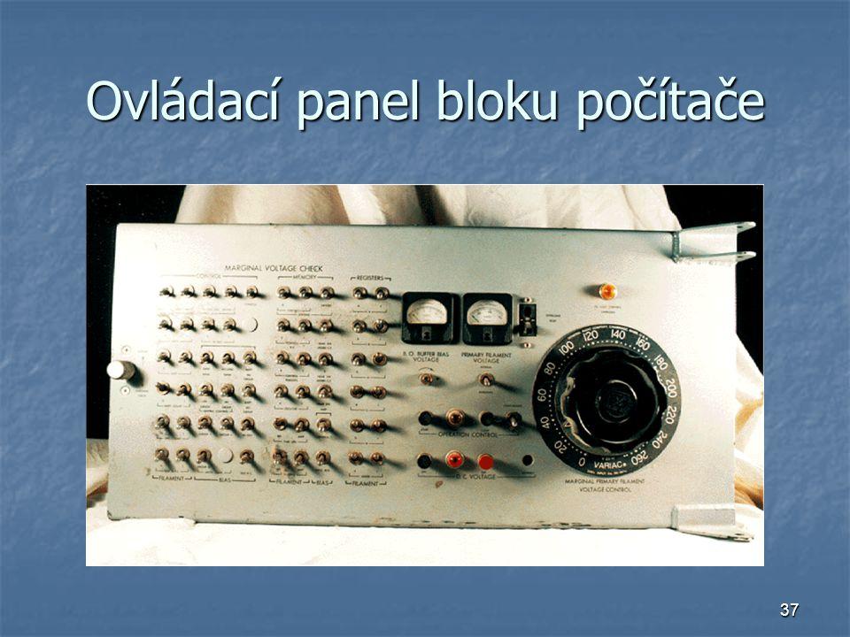 Ovládací panel bloku počítače