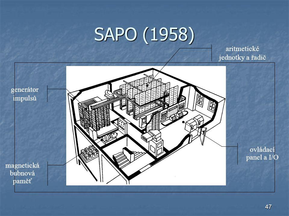 SAPO (1958) aritmetické jednotky a řadič generátor impulsů