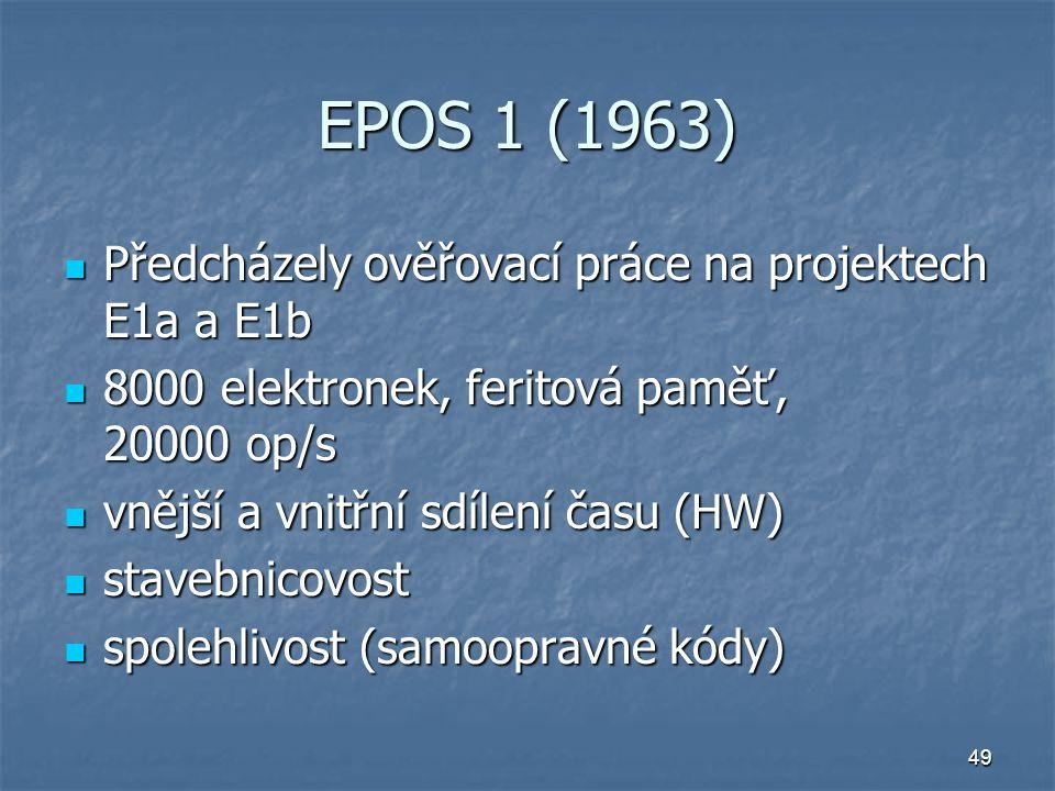 EPOS 1 (1963) Předcházely ověřovací práce na projektech E1a a E1b