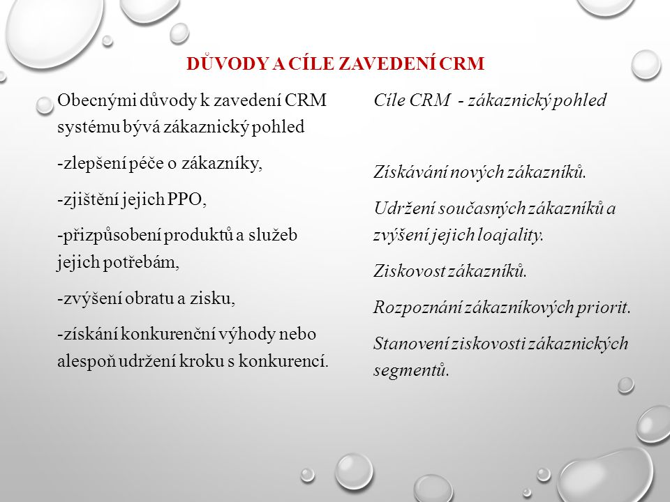 Důvody a cíle zavedení CRM