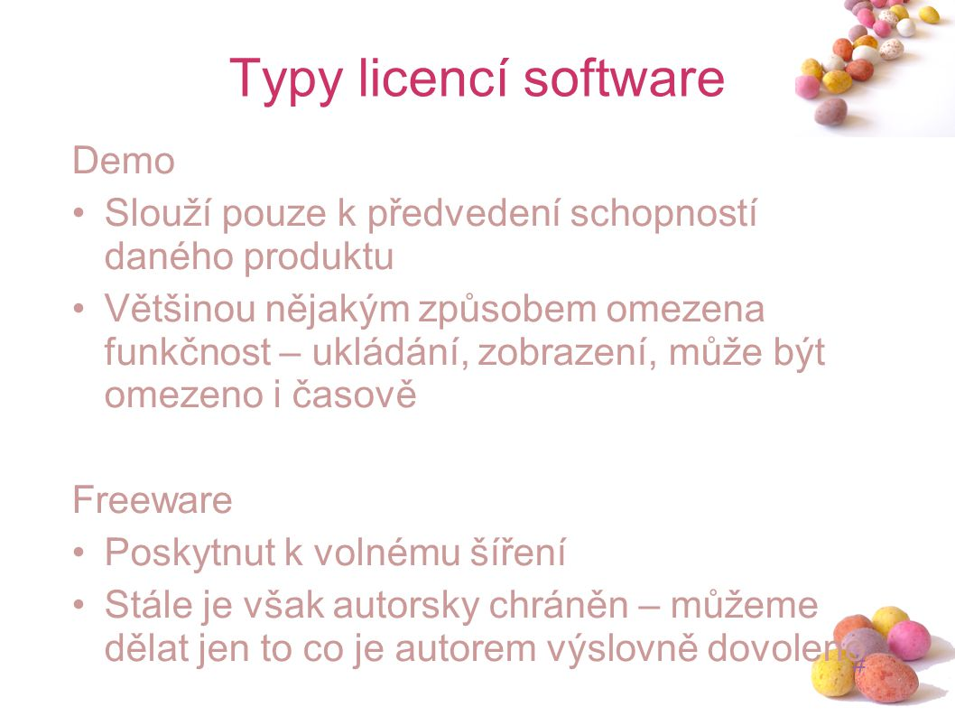 Typy licencí software Demo