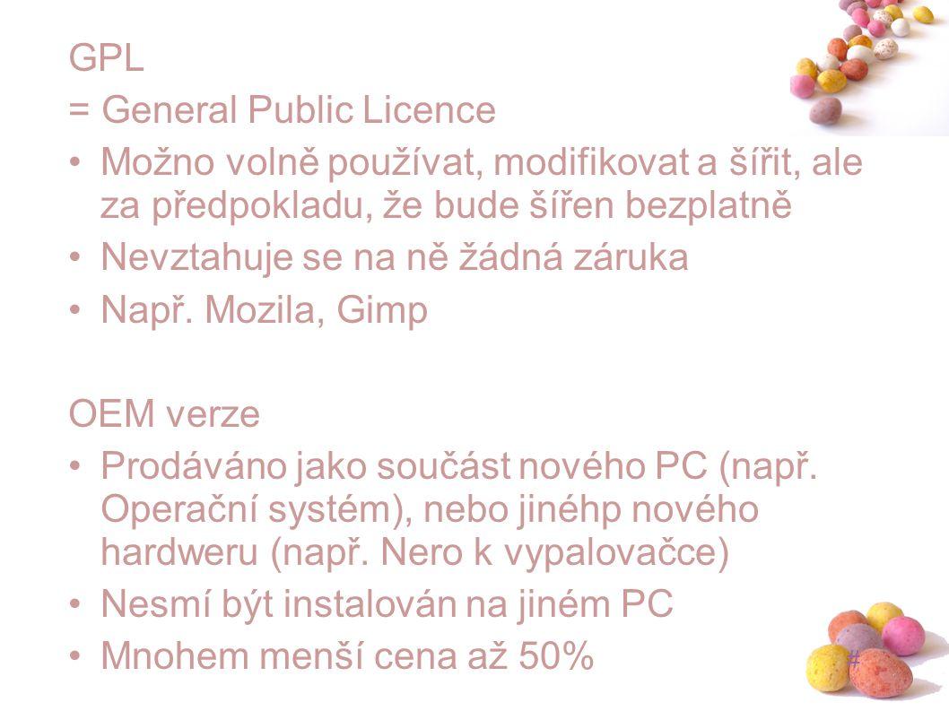 GPL = General Public Licence. Možno volně používat, modifikovat a šířit, ale za předpokladu, že bude šířen bezplatně.