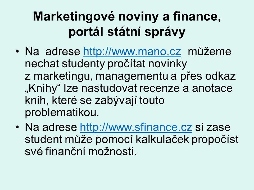 Marketingové noviny a finance, portál státní správy