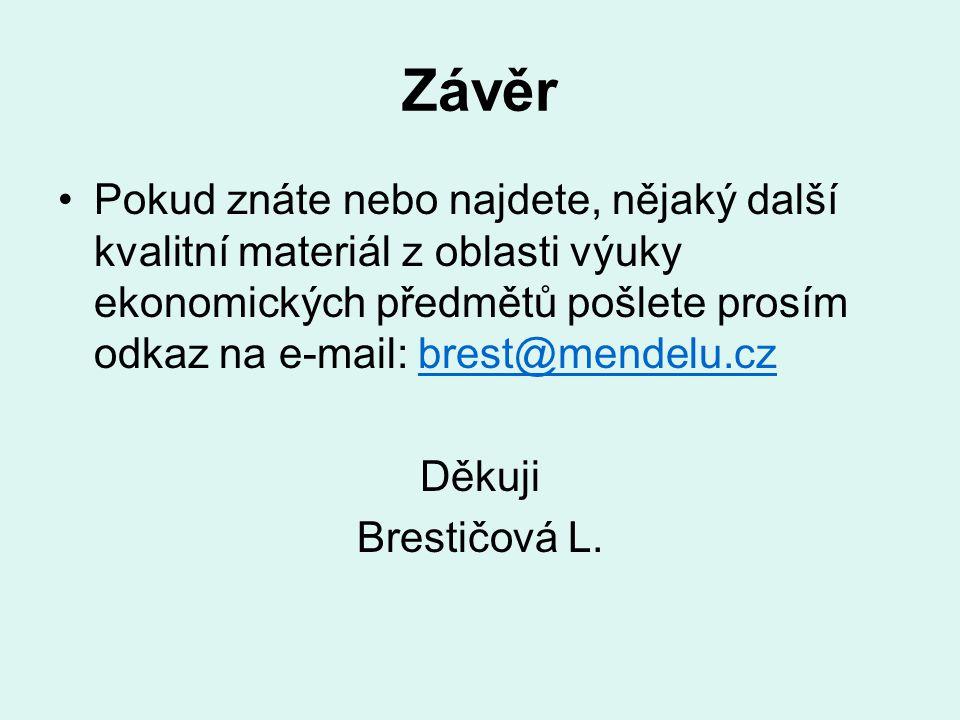 Závěr Pokud znáte nebo najdete, nějaký další kvalitní materiál z oblasti výuky ekonomických předmětů pošlete prosím odkaz na e-mail: brest@mendelu.cz.