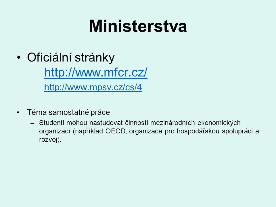 Ministerstva Oficiální stránky http://www.mfcr.cz/