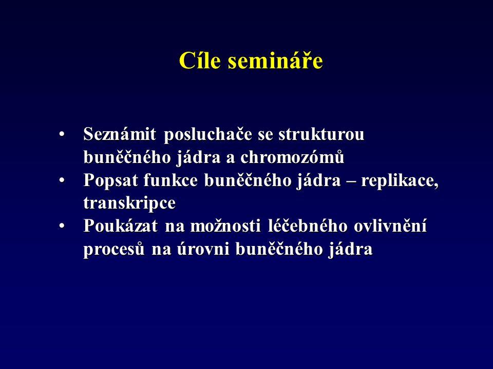 Cíle semináře Seznámit posluchače se strukturou buněčného jádra a chromozómů. Popsat funkce buněčného jádra – replikace, transkripce.